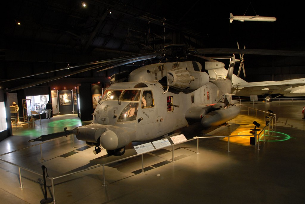 The Warrior Airmen exhibit, including the MH-53, on display in the Cold War Gallery