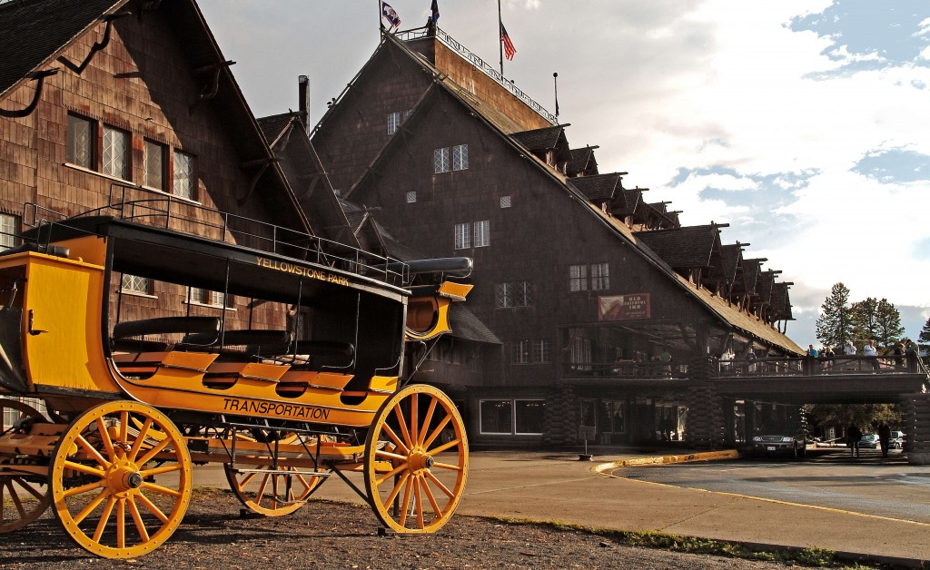 Old Faithful Inn Exterior with Stage Coach.