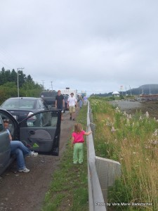 Waiting in line on Deer Island for L'etite Ferry