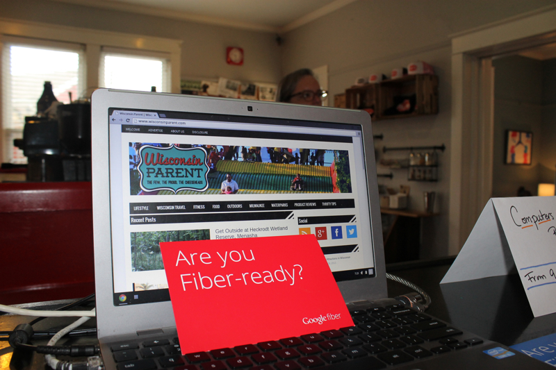 Are You Fiber Ready Laptop and Coffee Shop