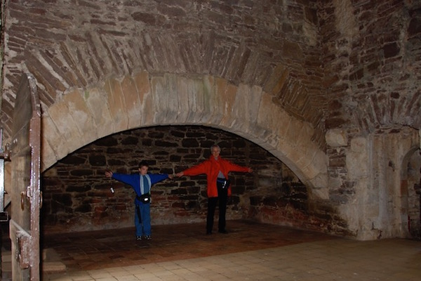 Double fireplace at Doune Castle.