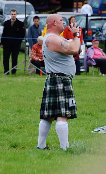 Professional athletes at the Highland Games in Lochearnhead