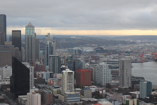 Sweeping Views of Downtown Seattle from the Space Needle Observation Deck