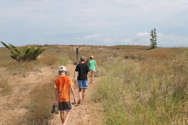 Kids Hiking Dunes