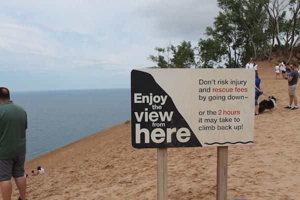 Sleeping Bear Dunes Warning Sign