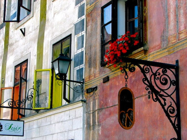 Skofja Loka, fading. paintings in pastel colors on facades